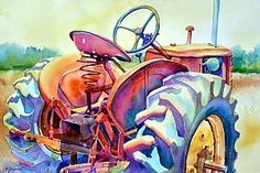 BORN TO PLOW by Mary Shepard Watercolor ~ image size: 6 x 21 unframed
