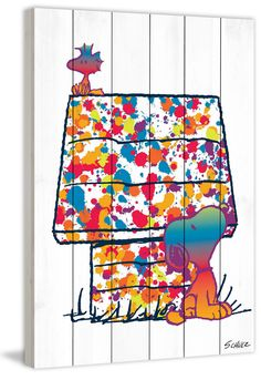 Description: Splatter paint fun in this Peanuts art Snoopy and Woodstock gather around his doghouse that has been splatter painted in rainbow colors. - Peanuts wall art featuring Snoopy and Woodstock