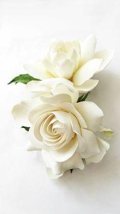Double Gardenia Hair Clips White Ivory Gardenia Two Gardenia