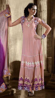 USD 64.42 Light Pink Georgette Ankle Length Anarkali Salwar Kameez 44331