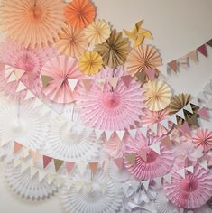 Paper pinwheels and flags backdrop