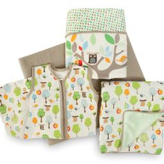 I'm thinking this for bedding.... Treetop Friends Complete Sheet™ bumper-free crib bedding
