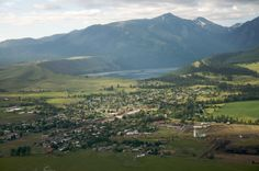 The 10 most beautiful towns in Oregon. Aerial view of Joseph.