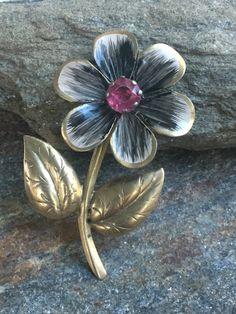 Large Flower Brooch Enamel Flower Pin Statement Booch Floral Brooch Long Flower Brooch SIngle Flower Pin Gift Idea by PassingTides on Etsy