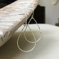 Medium Sterling Silver Textured Tear Drop Hoops  #jewelry #earrings #hoops #SterlingSilverEarrings