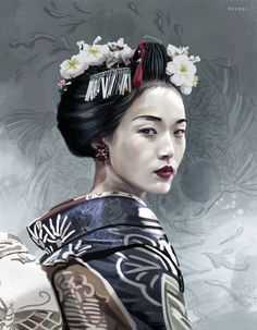 September 30 is the last day to submit your works to the CGTrader Digital Art Competition! - September 30 is the last day to submit your works to the CGTrader Digital Art Competition! Geisha Kunst, Geisha Art, Japanese Tattoo Art, Japanese Art, Japanese Kimono, Smile Drawing, Dad Drawing, Tribal Sleeve Tattoos, Asian Tattoos