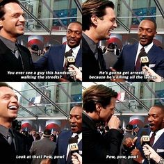 Sebastian Stan and Anthony Mackie are two of the funniest actors in the MCU. They portray the roles of Falcon and Winter Soldier in the Marvel movies, respectively. Marvel Dc, Marvel Actors, Marvel Jokes, Marvel Funny, Avengers Memes, Sebastian Stan, Fangirl, Dc Comics, Be My Hero