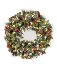 Take a look at this Crestwood Spruce Lighted Wreath by National Tree Company on #zulily today!