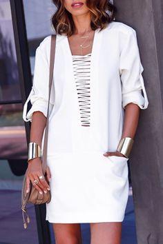 Plunging Neck Pocket Design White Dress