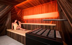 Traditional dry sauna with luxury veneer finishing, glowing LED backrest and geometric walls with Bluetooth surround system. Stairs, Home Decor, Abstract, Fine Dining, Bathing, Ladders, Homemade Home Decor, Stairway, Staircases