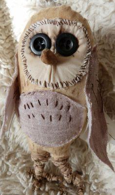 Primitive owl soft sculpture textile fiber by cornishcontemporary, £27.00
