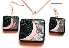 OOAK Rectangle Pendant and Dangle Earrings Mixed Media - Sterling Silver Plate - Faux Abalone / Pink / Black - No. 265 by AndreasArtJewelry on Etsy