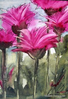 Floral Watercolor Painting of Bee Balm. , via Etsy.