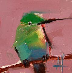 Hummingbird no. 117 original bird oil painting by Angela Moulton #prattcreekart