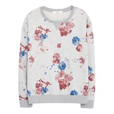 Buy Mango Floral Sweatshirt Jumper, Medium Grey Online at johnlewis.com