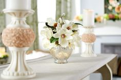 H213726 - Illuminated Mercury Glass Vase with Magnolia Blossoms