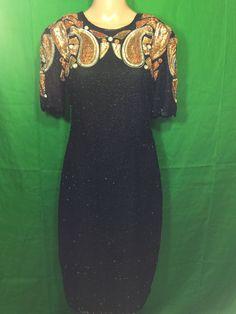 f93f611af5 VTG 80s Stenay Silk Sequin Beaded Gold And Black Keyhole Formal Cocktail  Dress