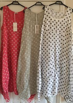 PLUS SIZE Italian LAGENLOOK POLKA DOT BALLOON Spotty Tulip SPOTTED LINEN Dress