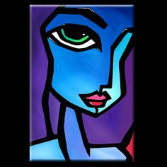Cool Beans - Original Large Abstract Modern FACES Art Painting by Fidostudio