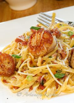 ... : One of my favourite recipes! Carbonara with pan seared scallops