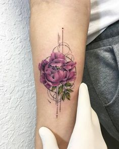 little tattoo — Graphic style peony tattoo on the right inner...