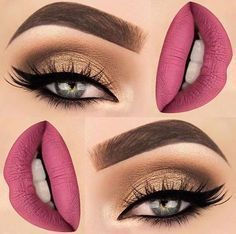 Gorgeous eyes and lipstick #makeup #lashes