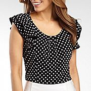 Short-Sleeve Tipped Ruffle Top - jcpenney Blouse Styles, Blouse Designs, Office Fashion, Ruffle Top, Fashion Details, Chiffon, Cute Outfits, My Style, Clothes