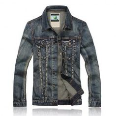 $29.02 Top Quality Korean Fashion Long Sleeve Blue Denim Jacket For Men