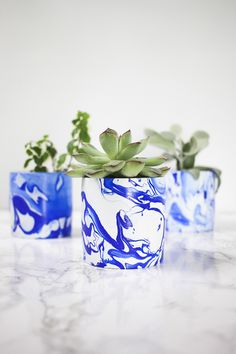 DIY Indigo Marbled M
