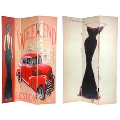 6 ft. Tall Double Sided Vintage Weekend Canvas Room Divider - London ($105) ❤ liked on Polyvore featuring home, home decor, panel screens, backgrounds, decor, vintage screen, vintage sculpture, canvas home decor, vintage home accessories and vintage home decor