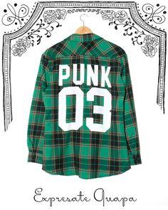 Camisa Escoces Estampa Punk