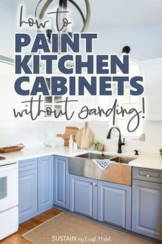 Learn how to paint kitchen cabinets without sanding with this step-by-step photo tutorial. Includes DIY tips, ideas and products for painting laminate furniture the easy way. The white and gray two-toned cabinets turned out great! #paintingkitchencabinets #kitchenisnpo #diykitchen #kitchenremodel #twotonecabinets #paintedfurniture #upcycling #sustainmycrafthabit
