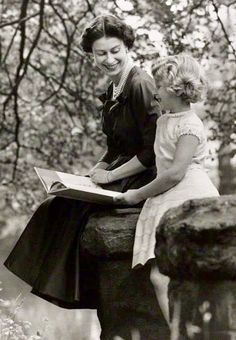 1957. Queen Elizabeth II reads to Princess Anne- Lord Snowdon, 1957