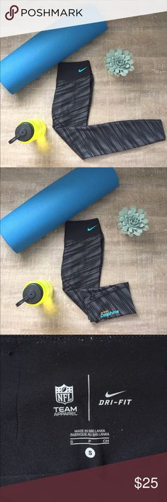 Nike Leggings These authentic NFL Team Apparel Dri-Fit leggings are perfect for a low-key or high-key Miami Dolphins Fan- or someone who just likes the print! In great condition but unfortunately too long for me (I'm 5'1). While in fabulous shape, these have been used & put in the dryer- hence the discount but there is no damage whatsoever! Nike Pants Leggings