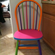 Old kitchen chair painted for photo shoot/kids room