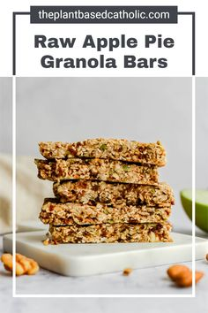 Raw Apple Pie Granola Bars are gooey, sticky, sweet, and delicious. Completely fruit-sweetened, these bars are a healthy on-the-go snack. #granolabar #vegangranolabar #applepie #applepiegranolabar #raw #rawvegan #vegan #glutenfree #oilfree #sugarfree #plantbased #oilfreevegan #sugarfreevegan #glutenfreevegan #wfpb #forksoverknives #catholic #catholiclife #theplantbasedcatholic Sugar Free Vegan, Vegan Gluten Free, Whole Food Recipes, Diet Recipes, Vegan Granola Bars, On The Go Snacks, Plant Based Diet, Raw Vegan, Apple Pie