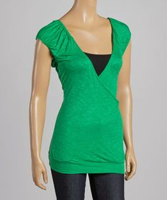 Another great find on #zulily! Green Ruched V-Neck Top #zulilyfinds