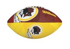 NFL Washington Redskins NFL Junior Team Logo Football-Washington Redskins by Wilson. $17.99. Butyl rubber bladder provides maximum air retention. Wilson Exclusive panel design for better aerodynamics.. Superior gripability for increased passing distance. Perfect for a junior to learn to throw and catch. Machine sewn rubber panels with all over team graphics. Wilson is the Official Ball of the NFL.  Learn to play like the pros on your favorite team with this Official Junior N...