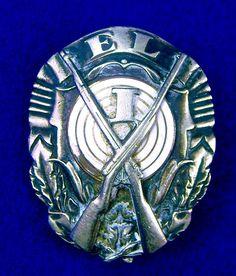 Estonian Estonia Pre WW2 1920-30's Marksman Medal Order Badge Pin Military Awards, Volkswagen Logo, White Enamel, Ww2, Badge, Hanging Medals, Badges