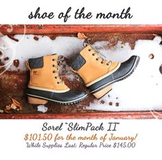 Sole Mates Inc Shoe of the month!  Sorel SlimPack II Start your new year off right with an adventure in these cozy, waterproof boots. They feature a full-grain leather upper, a leather-wrapped heel, 100g insulation, vulcanized rubber and a super-cozy microfleece lining.  Bring on the new year!