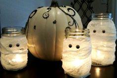 Simple Chic Halloween DIY Decor - Mason Jars, Cheese Cloth, and Googly Eyes.