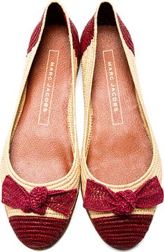 Burgundy & Natural Rafia Flats by Marc Jacobs