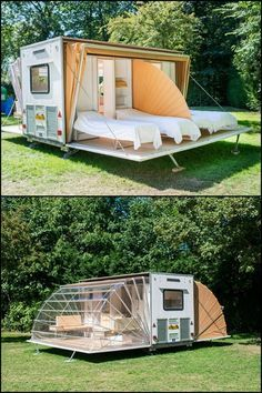 It's a mobile home that expands to three times it's towed area in just minutes! - Tiny Houses It's a mobile home that expands to three times it's towed area in just minutes! Know more about 'The Awning' by heading over to our site! Mobile Living, Camper Hacks, Tiny House Living, Living Room, Tiny House Design, Glamping, Tent Camping Beds, Van Life, House Plans