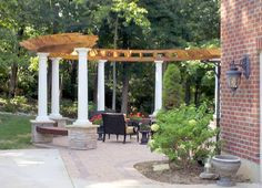 curved pergola with built in seats ideas image