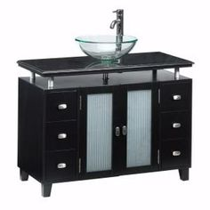 Merveilleux Home Decorators Collection Moderna 42 In. D Deluxe Sink Cabinet In Black  With Glass Basin/Solid Granite Top