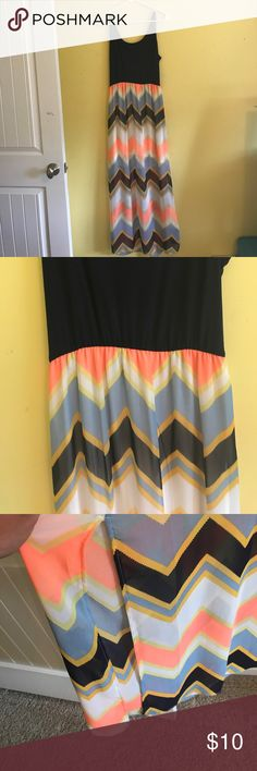 super cute chevron maxi dress! charming charlie maxi dress with chevron past the hip area!! super cute and float and fun! love the slits on the side!! Selling because I'm just not interested in wearing it anymore! Charming Charlie Dresses Maxi