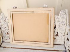 VINTAGE SHABBY CHIC Large Wood Frame Picture by SouthamptonVintage