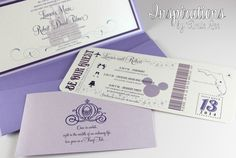 Disney Wedding Invitations - boarding pass style by Inspirations by Amie Lee
