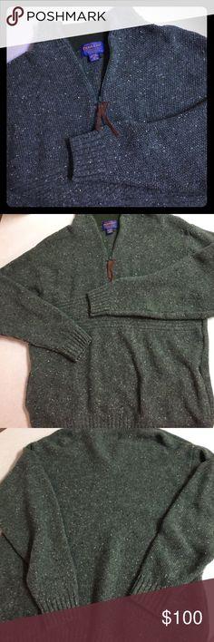 Pendleton 100% virgin wool army green mens sweater Like new Pendleton army green knit 100% wool sweater sized Large.  Fleece collar.  No flaws. Pendleton Sweaters Zip Up