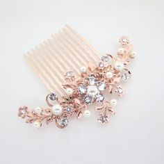Rose Gold Hair comb Wedding hair comb Rose Gold by treasures570